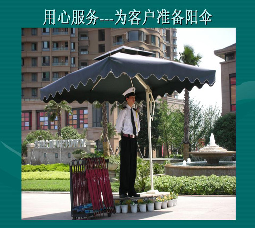 """牢固耐用的门卫站岗伞就这么受欢迎 有钱就这么任性 杭州百佳遮阳蓬生产的门卫站岗伞品质一直备受行业内好评,伞布为防水、防紫外线、防抗老化处理的320克优质绦纶布,牢固耐用,用途广泛,伞布颜色有20多种颜色可以选择。伞杆:40*60MM 壁厚1.5MM,可抗风6级,产品保修一年,终身维修。百佳门卫站岗伞非比寻常,质量是迄今为止最牢固耐用的好遮阳伞,引用现在最火的话""""有钱就这么任性,百佳门卫站岗伞就这么牢固,就这么受欢迎""""。  物业高档门卫站岗伞 牢固耐用的门卫站岗伞就这么受欢迎 杭城还"""