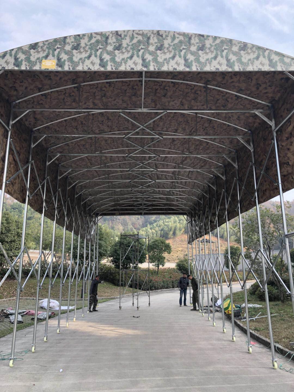 大型推拉篷工程迷彩色可用8年不坏免费安装
